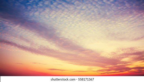 After sunset sky with cloud pattern. Beautiful nature background. - Shutterstock ID 558171367