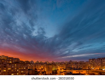 After sunset time. Twilight panoramic cityscape. Aerial view. Typical modern residential area. Kiev. Ukraine.