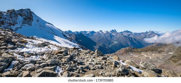 After taking the Ötztaler Gletscherstraße from Sölden up to Rettenbach Glacier you can ride the Schwarze Schneidbahn to observation desk Schwarze Schneid (3,257 m) with great view over the Ötztal alps