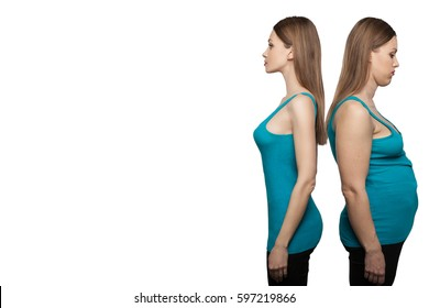 ?efore and after weight loss. rejuvenation. Fat woman comparison thin. Woman's body before and after a diet. Weight loss. on white background. Health care and diet concept.