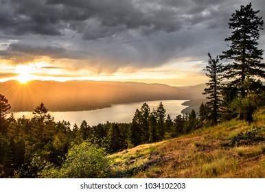 after work sunset over okanagan lake