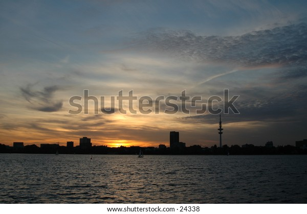 Afterglow Hamburg (City in the north of Germany)