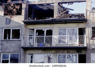 Aftermath of apartment fire.  Useful for builders, renovation specialists or news about deadly fires
