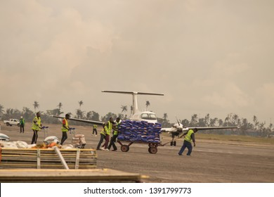 Aftermath Cyclone Idai and Cyclone Kenneth in Mozambique and Zimbabwe, UN workers preparing humanitarian help to deliver to affected people , airport Beira, Mozambique, 02. May 2019