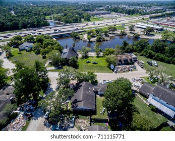 The aftermath of Hurricane Harvey on a Dickinson Texas Neighborhood