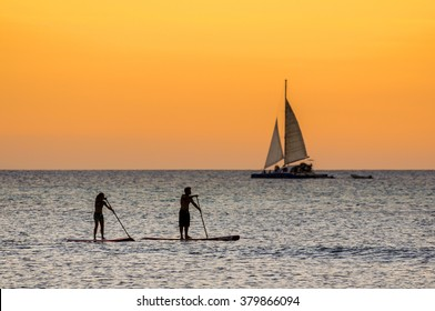 The afternoon is about to end while doing some paddle surf at  Hadicurari Beach, Aruba, Netherland Antilles.