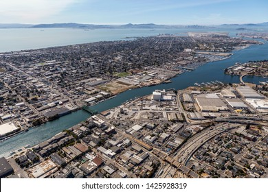 Afternoon aerial view of Alameda Island and the San Francisco Bay in California.