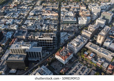 Afternoon aerial view of the business and shopping district near Rodeo Drive and Wilshire Blvd in Beverly Hills California.