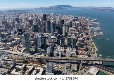 Afternoon aerial view of downtown San Francisco buildings and streets in California.