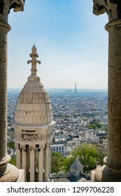 Afternoon aerial view of Paris cityscape from Basilica of the Sacred Heart of Paris at France