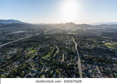 Afternoon aerial view of suburban Thousand Oaks and Newbury Park neighborhoods near Los Angeles, California.