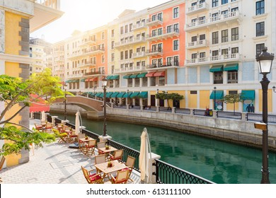 Afternoon atmosphere in the Qanat Quartier at the Pearl in Doha, Qatar