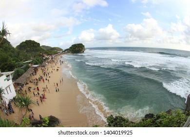 Afternoon beachfront by Drini beach Jogjakarta region Indonesia