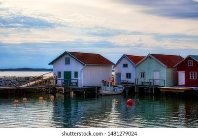Afternoon at the Beautiful Breviks Fishing Harbor on the Southern Koster Island, Sweden