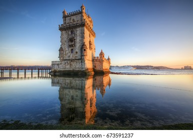 "Afternoon  at the Belem Tower, or ""Tower of St Vincent"", Lisbon, Portugal"