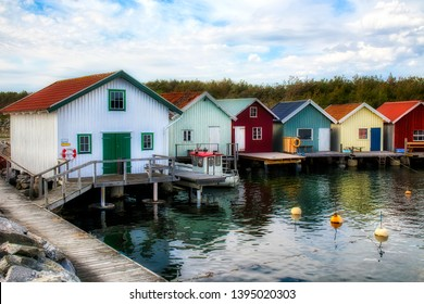 Afternoon with Fisherman's Cabins at the Beautiful Breviks Fishing Harbor on the Southern Koster Island, Sweden