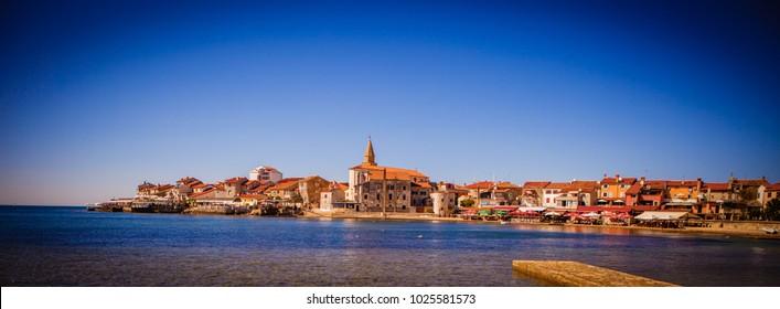 Afternoon Croatia, Umag. The coast of Um ag. Beautiful sea. Architecture of Umag, Croatia.
