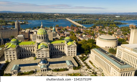 Afternoon light hits the buildings and downtown city center area in Pennsylvania state capital at Harrisburg