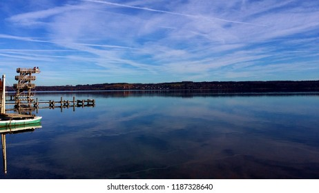 Afternoon on Ammersee (lake Ammer) in Utting, Germany in Bavaria