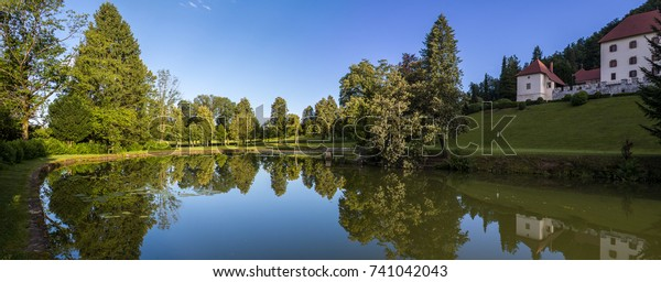 Afternoon in the park of the Strmol castle, Slovenia
