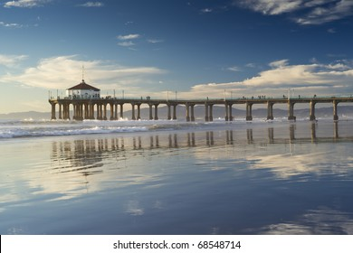 Afternoon Reflections Negative Low Tide Manhattan Beach Pier