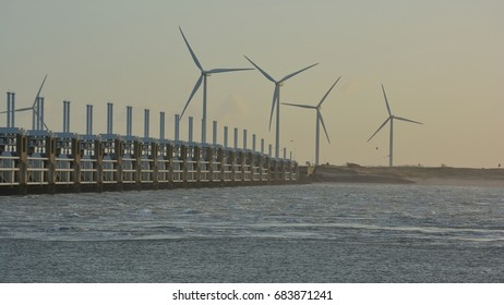 Afternoon sun on the Oosterscheldekering. Province: Zeeland, Country: Netherlands