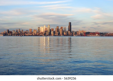 Afternoon Sun over the skyline of downtown Seattle