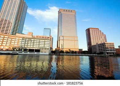 Afternoon in Tampa. City skyline seen accross the river.