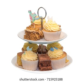 Afternoon Tea cakes on a stand isolated