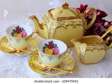 Afternoon Tea Party - vintage yellow tea cups, teapot and jug with gold cutlery flatware