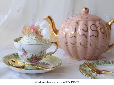 Afternoon Tea - pretty vintage teacup, pink teapot and rose cupcake