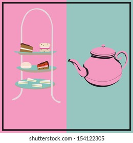 Afternoon Tea, retro background with a cake-stand and a teapot for a tea-party