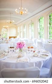 Afternoon tea wedding reception set up