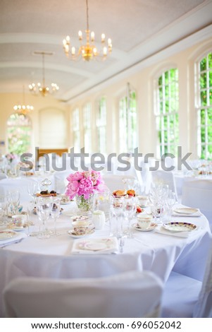 Afternoon Tea Wedding Reception Set Stock Photo Edit Now 696052042