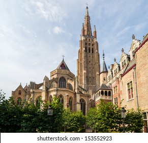 Afternoon view of the beautiful, medieval Church of Our Lady in Bruges, Belgium