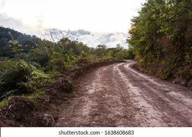 afternoon view of the dense flog covering the mountains as the sun sets leaving just a faint glow in the sky and soft light on the dirt road leading from Buenos Aires to Olan, Costa Rica
