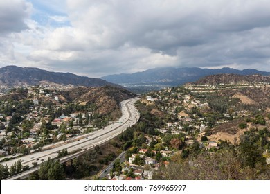 Afternoon view of Glendale neighborhoods and freeway near Los Angeles in Southern California.