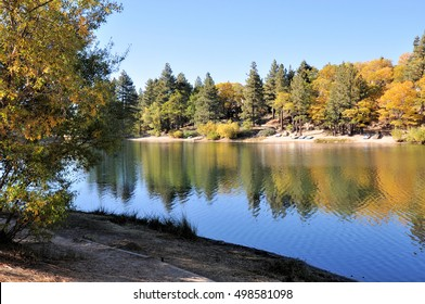 Afternoon view of Green Valley Lake in autumn. Located in the San Bernardino Mountains in Southern California.