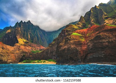 Afternoon view of the Na Pali Coast on the northwestern side of the island of Kauai, Hawaii, as seen from a boat.