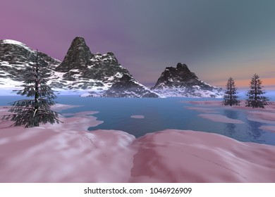 Afternoon view on the lake, 3D rendering, an alpine landscape, snowy mountains, beautiful trees and a colored sky.