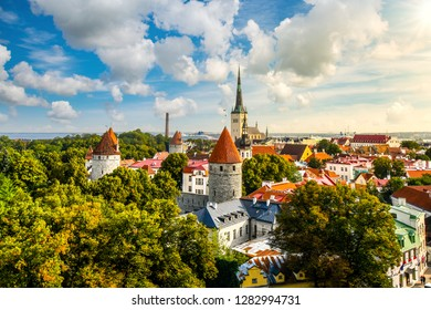 Afternoon view overlooking the medieval walled city of Tallinn Estonia on an early autumn day in the Baltics region of Northern Europe.
