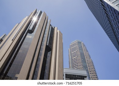 Afternoon view of tall skyscrapper at Los Angeles, California, U.S.A.