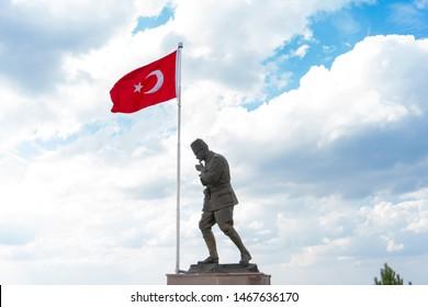 Afyon, Kocatepe / TURKEY - 29/07/2019: Mustafa Kemal Atatürk statue and Turkish flag for August 30, Turkish Victory Day