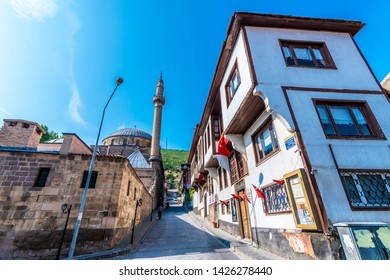 Afyon, Turkey - June 16, 2019 : Afyonkarahisar old houses streets view. Afyon is located center of Anatolia.