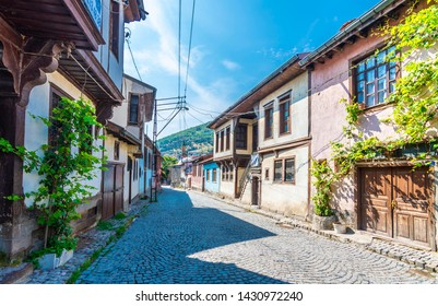 Afyon, Turkey - June 16, 2019 : Afyonkarahisar old houses street view. Afyon is located center of Anatolia.