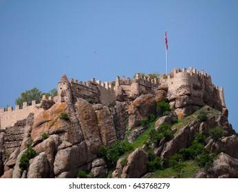 Afyon, Turkey - May 12, 2017: ancient historic castle in Afyon, Turkey