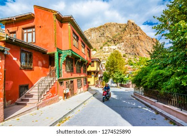 Afyon, Turkey - October 08, 2016 : Afyonkarahisar old houses streets view. Afyon is located center of Anatolia.