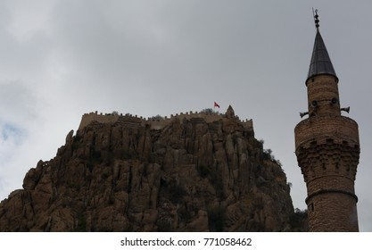 """""""Afyonkarahisar Castle; Afyonkarahisar city center, a natural elevation of 226 meters above the ground is a rock mass. It was built by the Hittite emperor """"II Mursil"""" in 1350 BC"""