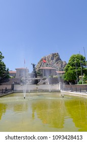 Afyonkarahisar castle, in front of Utku (Victory) Monument, the symbol of the city, Afyonkarahisar in Turkey