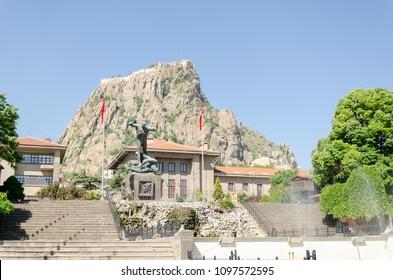 Afyonkarahisar Castle and Utku monument at the center of Afyonkarahisar in Turkey.24 May 2018